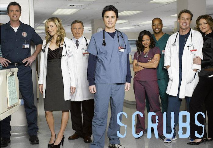 "SCRUBS - ""Scrubs"" stars Neil Flynn as ""The Janitor,"" Sarah Chalke as ""Elliot Reid,"" Ken Jenkins as ""Dr. Bob Kelso,"" Zach Braff as ""John 'J.D.' Dorian,"" Donald Faison as ""Chris Turk,"" Judy Reyes as ""Nurse Carla Espinosa,"" John C. McGinley as ""Dr. Phil Cox"" and Christa Miller as ""Jordan."" Ê(TOUCHSTONE TV/MITCH HAASETH)"